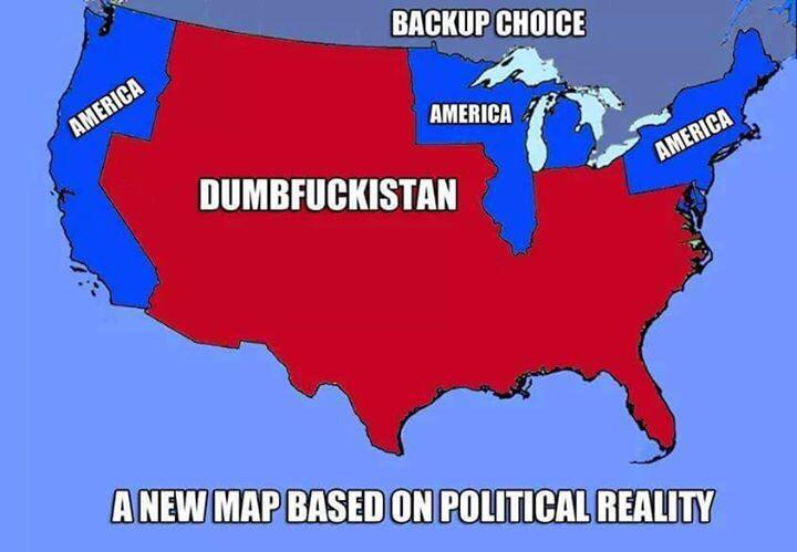 Bipartisan Report On Twitter A New Map Of America Based On - Tee shirt us map dumbfuckistan