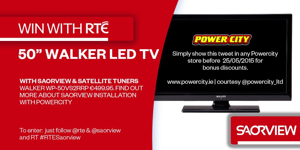 "Win a 50"" Walker LED @SAORVIEW approved TV courtesy @Powercity_Ltd. Just follow @rte & @SAORVIEW & RT #RTESaorview http://t.co/hOp0A272W1"