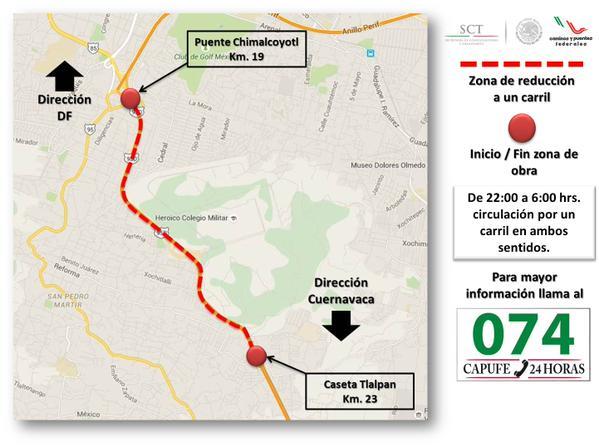 Mañana a las 22:00 da inicio la reducción a 1 carril. Aut. México - Cuernavaca por obras 2° piso Periférico Sur. http://t.co/UCTJYkSzO4