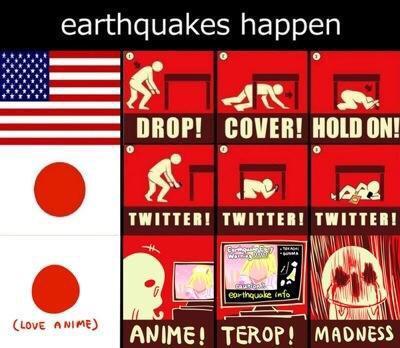 久しぶりに揺れましたがここで日本人とアメリカ人の地震に対する意識の差を見てみましょう pic.twitter.com/DqfcttXEw2