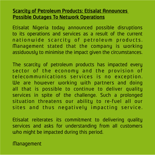 Fuel Scarcity: Etisalat Also Releases Statement