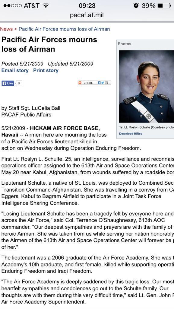 @jaketapper 1st Lt Roslyn Schulte killed 5/20/09 in Afghanistan. http://t.co/AYu0kEs3dX