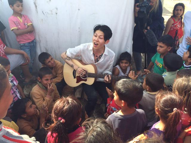 .@MIYAVI_OFFICIAL jamming with Lebanese and Syrian refugee scouts in Lebanon's Bekaa valley http://t.co/hFjntOHop4