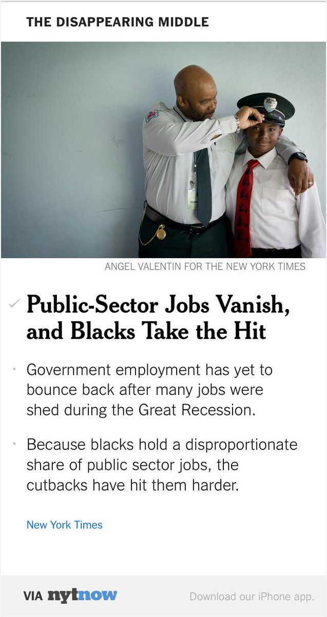 Public-Sector Jobs Vanish, Hitting Blacks Hard – via @NYTNow http://t.co/P78svr1aXG http://t.co/9mcbRMm0bT