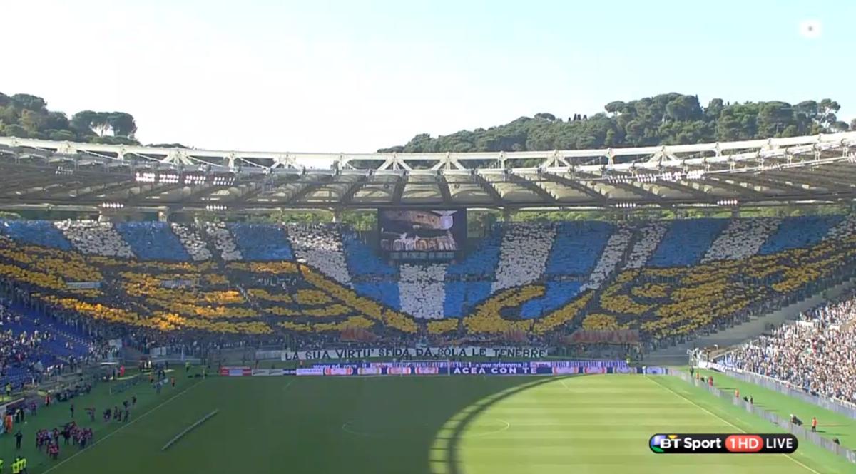 Spectacular tifo Stadio Olimpico Rome derby Lazio Roma live Sport ...