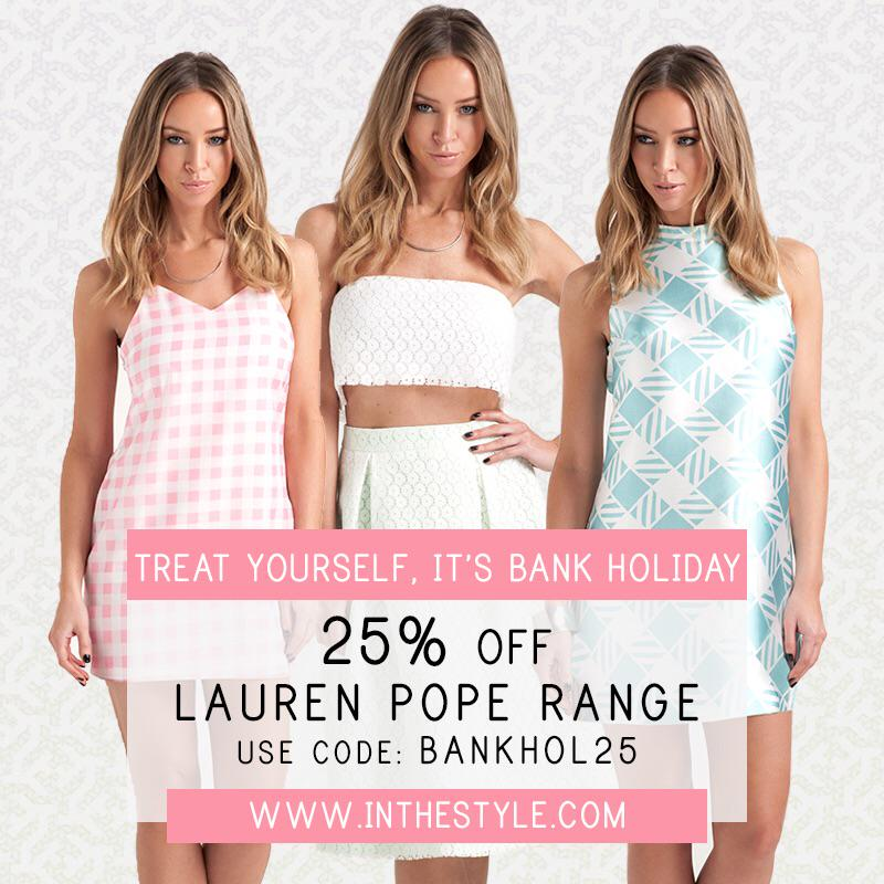 RT @inthestyleUK: STILL TIME 👉 25% off💋 On ALL #ITSbyLP range👌 Use code BANKHOL25 @ checkout  @LaurenPope 👉 http://t.co/1v2BSDZO7w http://t…