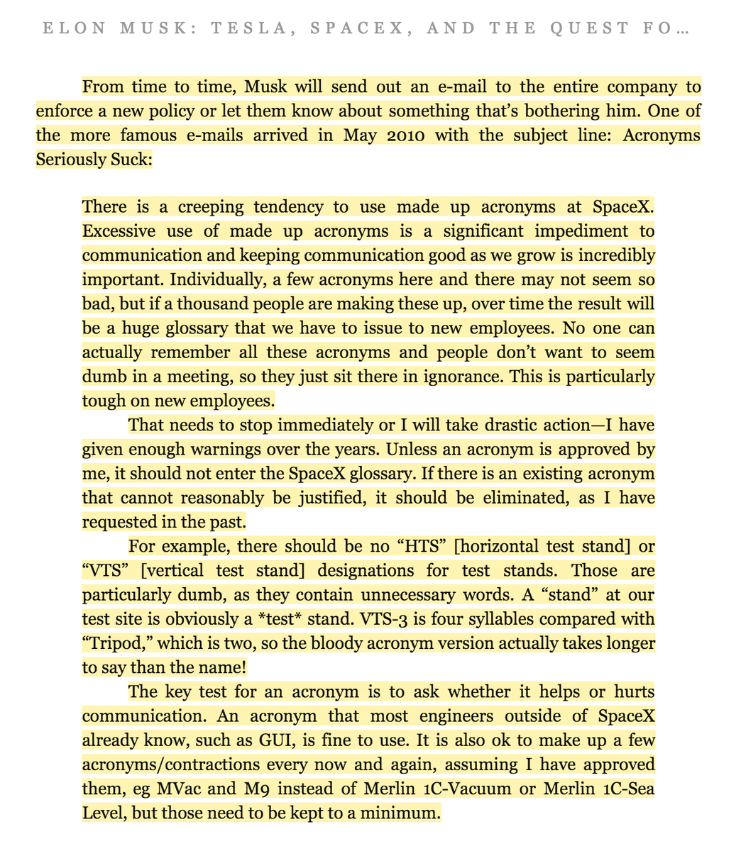 .@elonmusk on the spread of unnecessary acronyms inside SpaceX http://t.co/C9H7OdKVlb