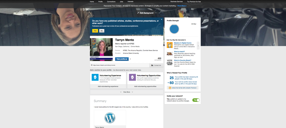 Tarryn Mento On Twitter For Some Reason My At Linkedin Background