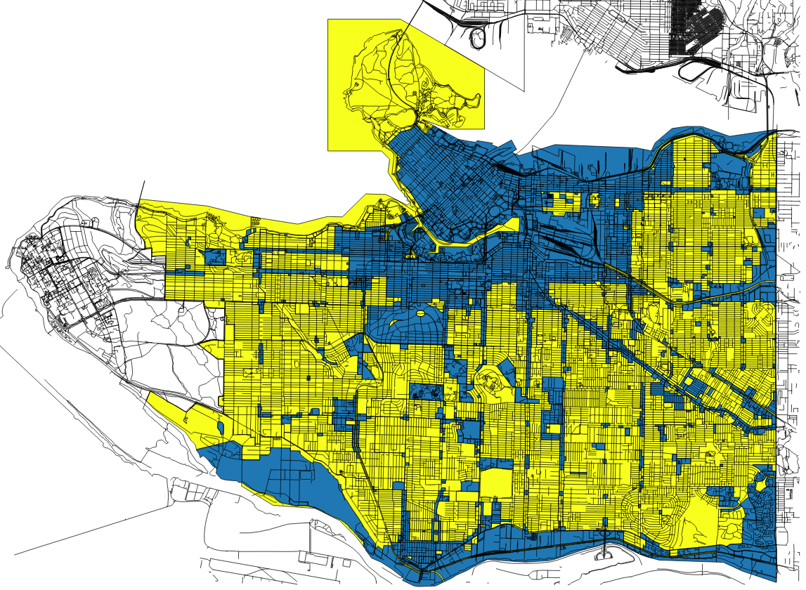 GRIDS Vancouver on Twitter Map of Vancouver where yellow is zoned