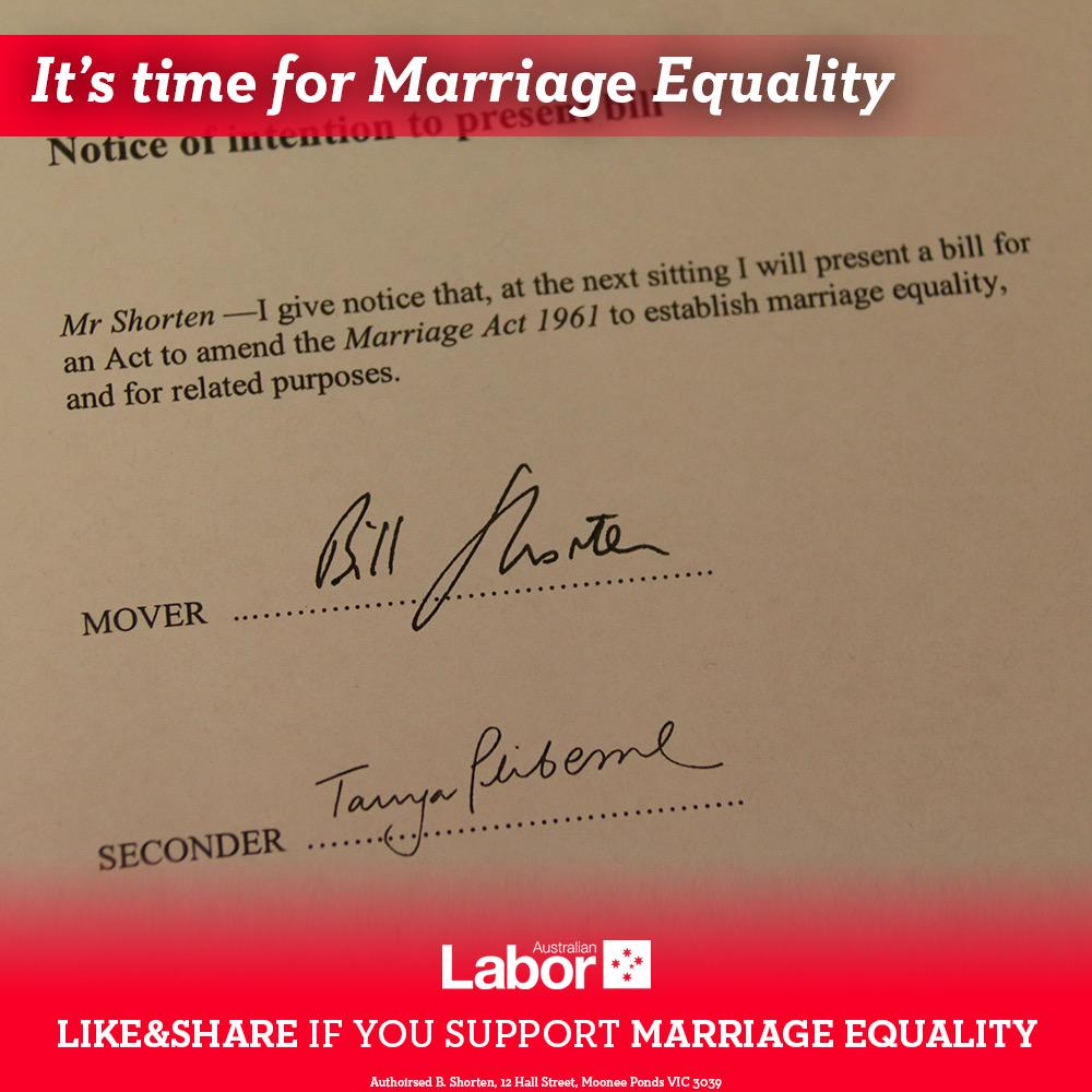 I have given notice that I will move a Bill on Monday which will finally bring about #marriageequality in Australia