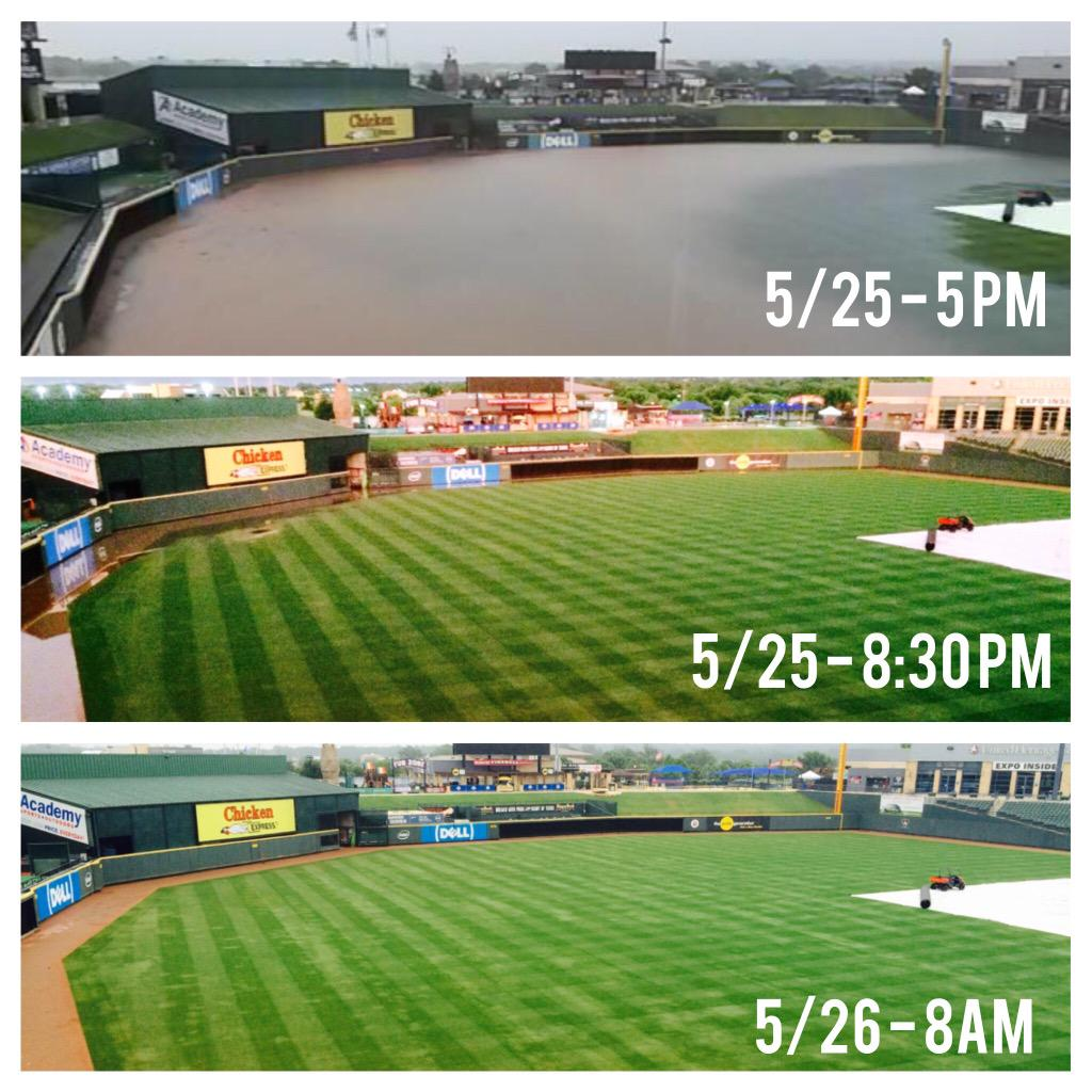 Going, going... Gone! The field at #DellDiamond is ready for our doubleheader today! #atxfloods #atxwx #milb http://t.co/LBGhDMDujO