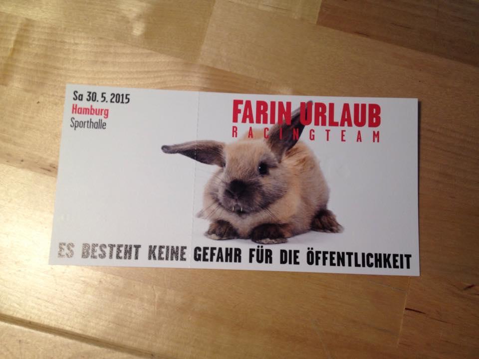 Hej #Hamburg! Möchte wer am Samstag (30.5.) zu Farin Urlaub in die Sporthalle? Ich hätte noch ne Karte über! #FURT http://t.co/FFFjr9eaSM