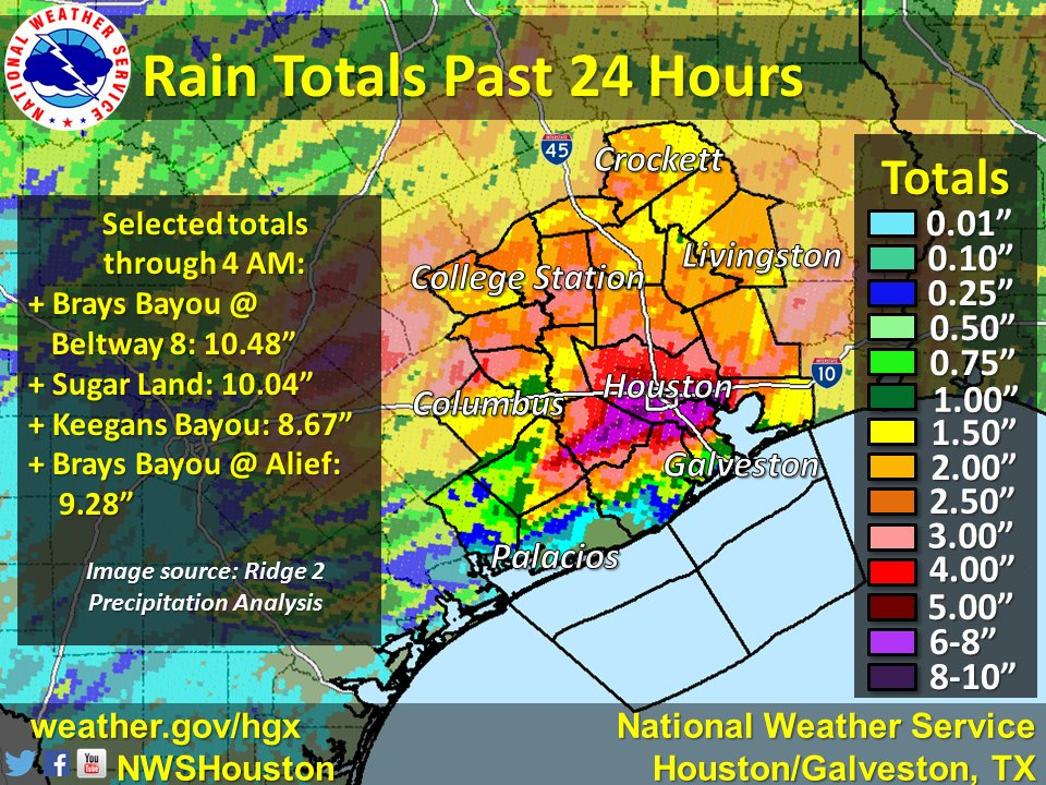 Houston, Texas, Hit by Unprecedented Flooding; Seven States At Risk