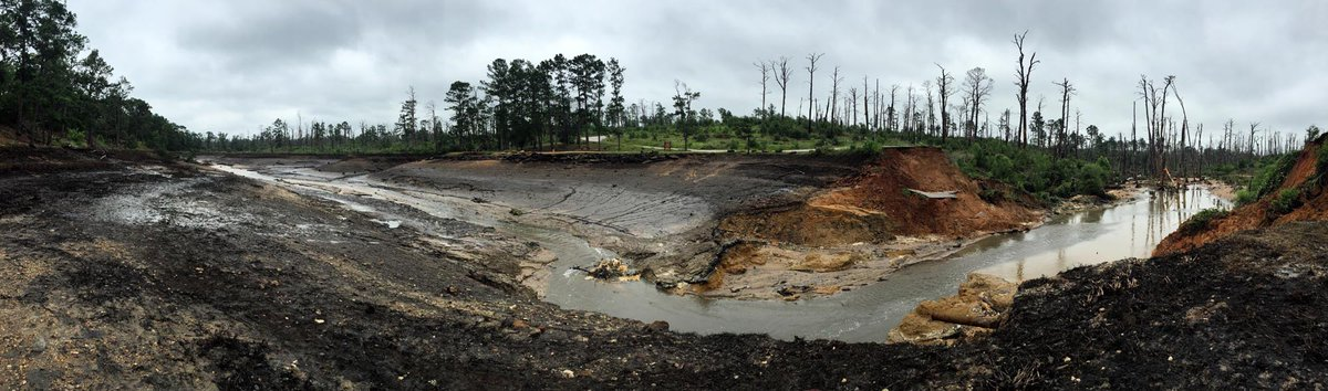 Panoramic view of where lake used to be at #Bastrop State Park before dam breach http://t.co/DWR4XVrVgP