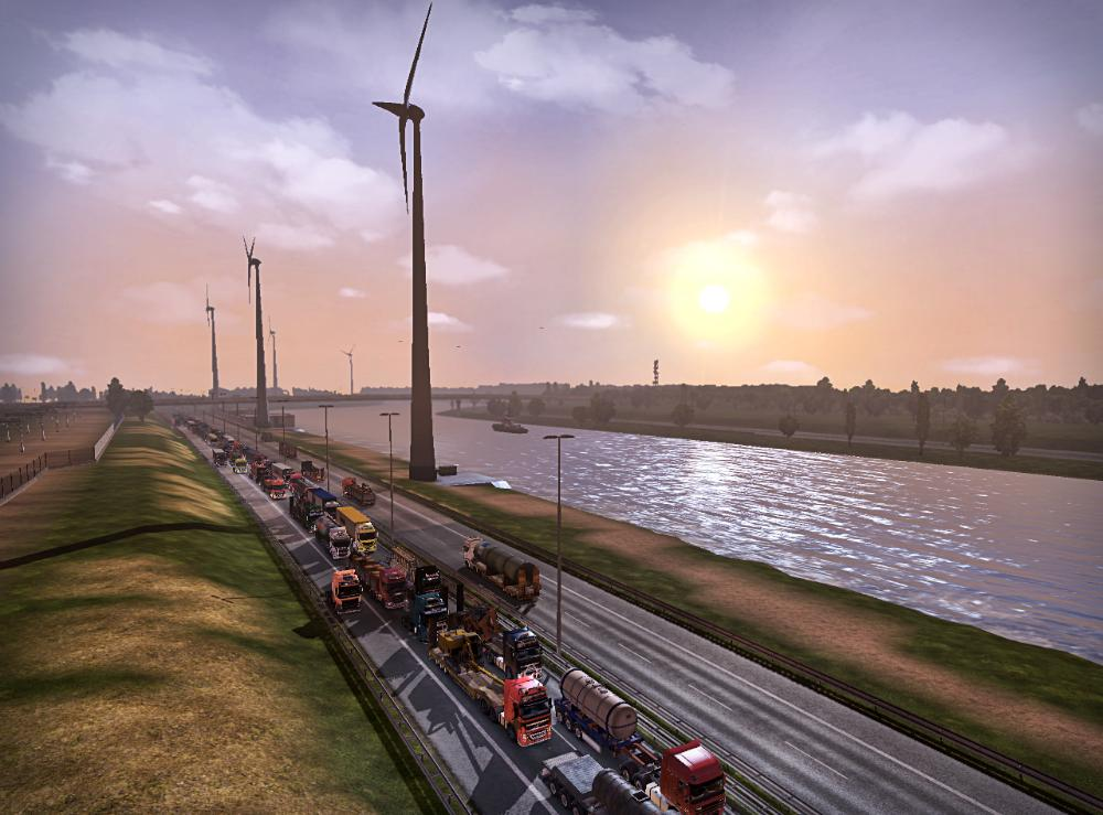 Amazingly, actual traffic jams occur in multiplayer Euro Truck Simulator. Every vehicle is a real person. http://t.co/HG9vo6O1VT