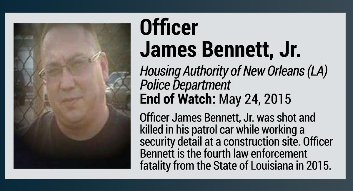 James Bennett Jr. New Orleans police officer shot dead cruiser