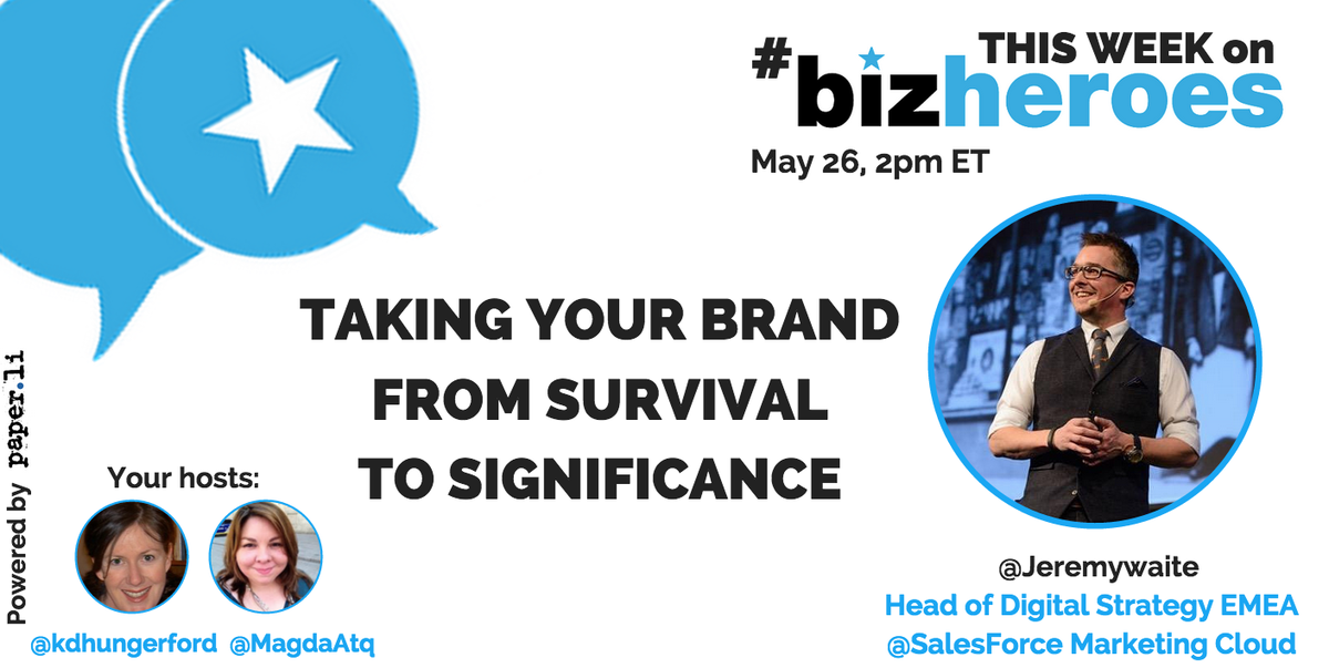 Time for a #CoffeeBreak! 5 minutes til #BizHeroes w/ @jeremywaite. We're talking #significantbrands today! Join us! http://t.co/7jfsvGUUCI