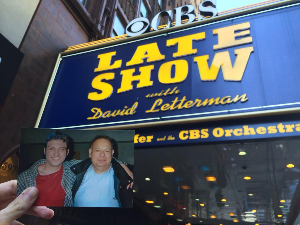 """My Dad passed away in 2013, so I """"brought"""" him w/ me to @Letterman We loved watching Dave together! #ThanksDave http://t.co/4VpE8g9FOo"""
