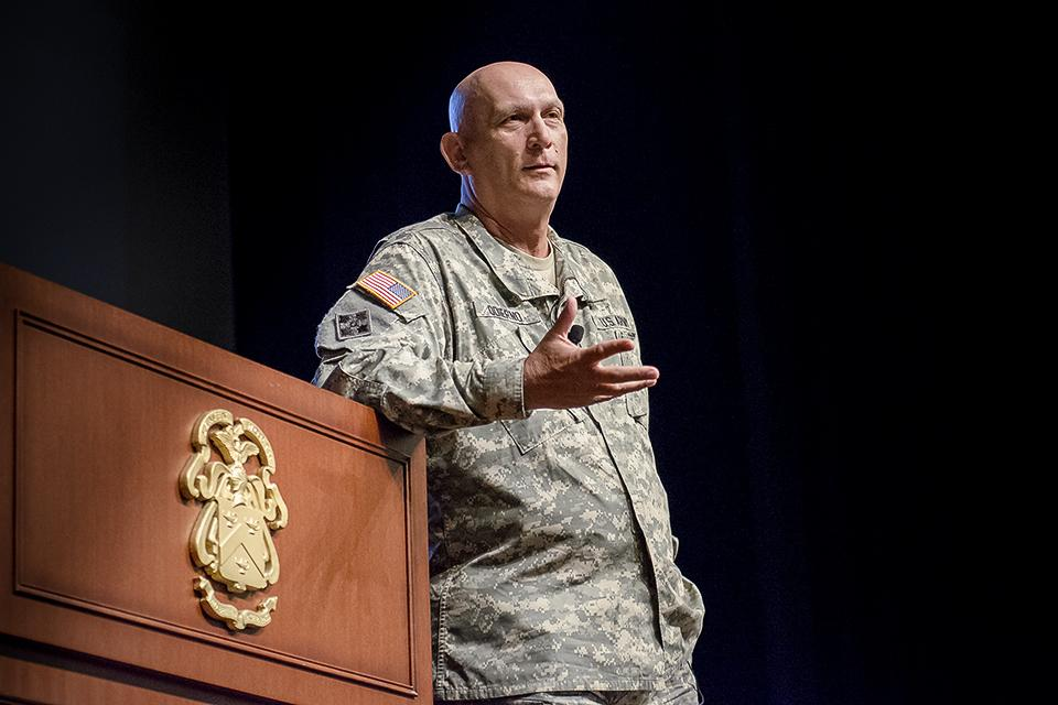 CSA, GEN Odierno spoke to CGSC 2015 for their final lecture of the year in the Lewis & Clark Cntr, Ft. Leavenworth http://t.co/7LHJsmZ5r1