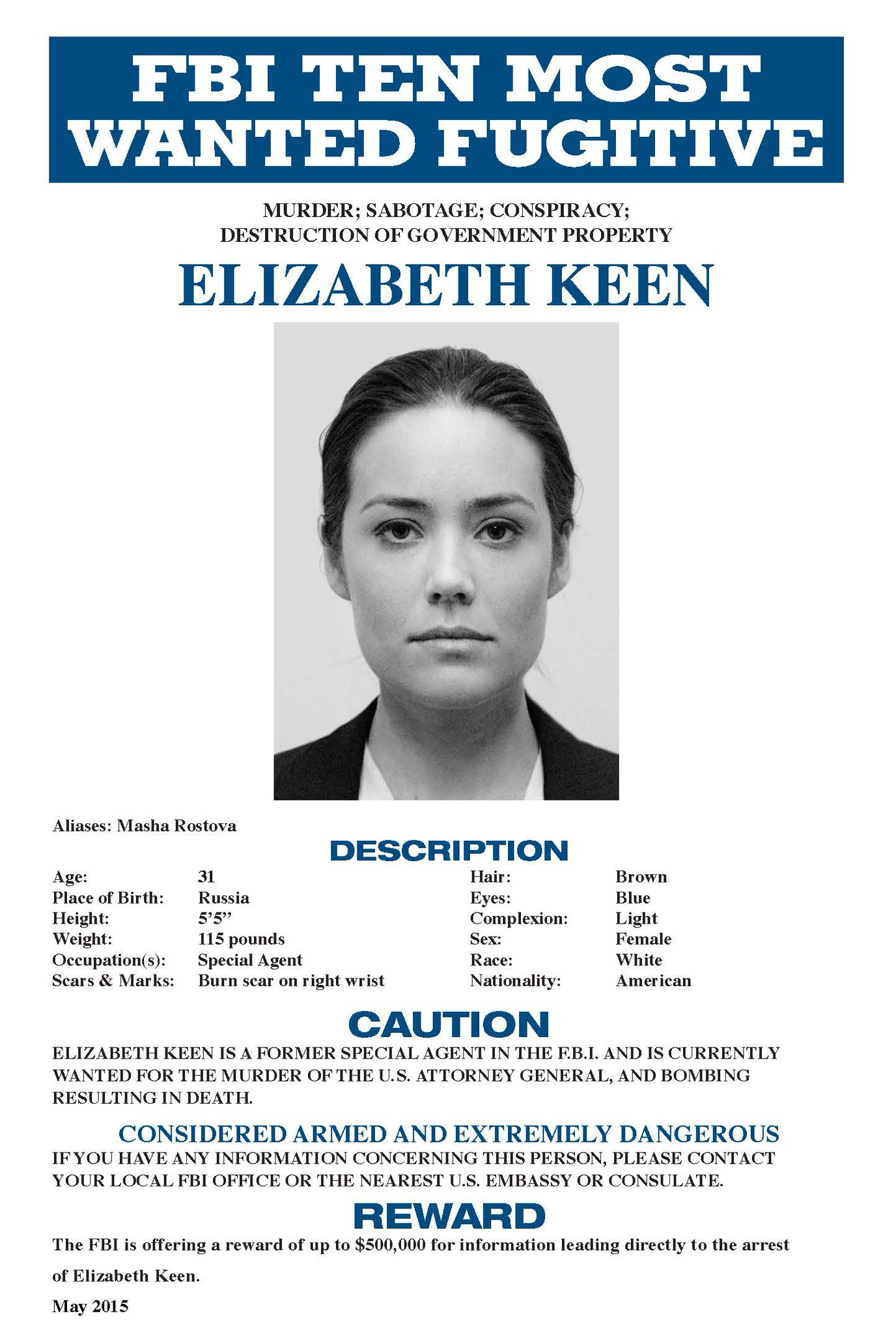 The Blacklist on Twitter The FBI has a new most wanted – Wanted Person Poster