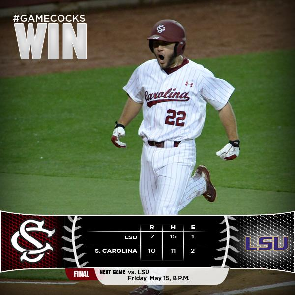 #Gamecocks WIN! Final score South Carolina 10 LSU 7 http://t.co/VsITFkz5D2