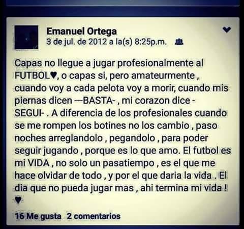Asi sentia el futbol #EmanuelOrtega . Nada que ver con lo que se vio hoy en el clasico argentino #verguenzanacional http://t.co/HZfzXR8iDk