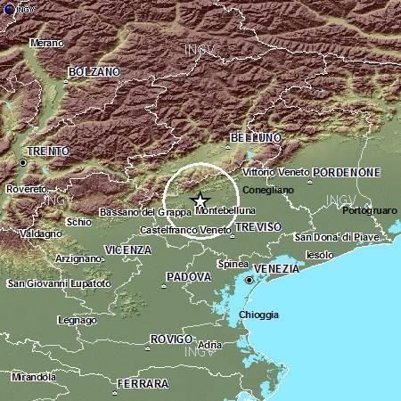 Terremoto Oggi Veneto: scossa M3.5 sul Montello (Treviso) 15 maggio 2015