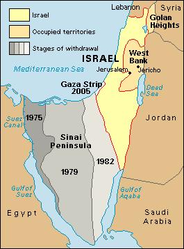 Retiro de Israel de toda la Península del Sinaí tras acuerdo de paz con Egipto y retiro unilateral de toda Gaza en 2005.