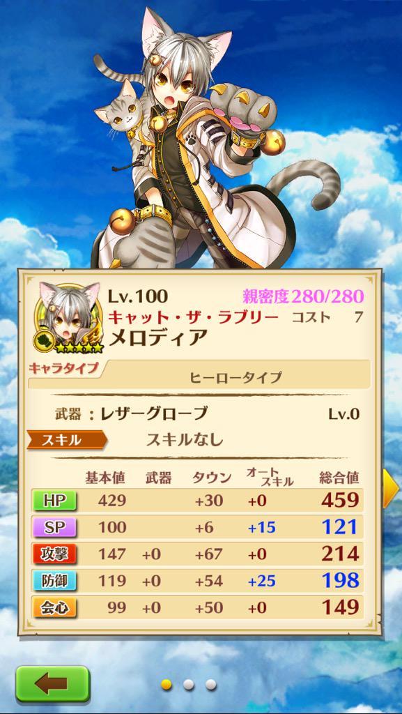 【白猫】さいかわ猫メロディアの無凸4凸Lv.100ステータス判明!【プロジェクト】