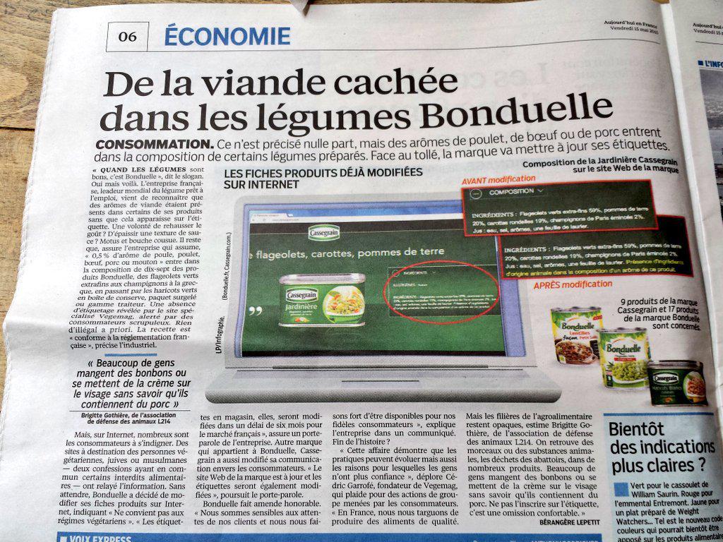 Nuovo scandalo alimentare in Francia: nelle verdure in scatola aromi della carne