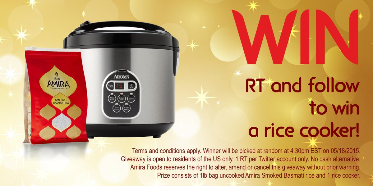 @AmiraFoodsUS: #Competition time! RT and follow to #win a rice cooker! #WinWithAmira #giveaway #ricecooker http://t.co/dII33F89hq