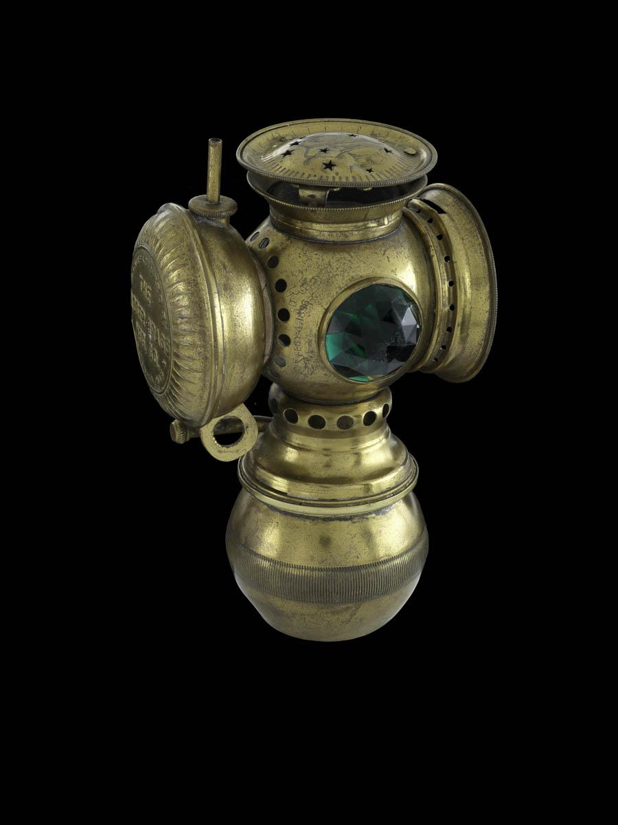 Cruising continued after sunset with this late 1800s kerosene wick or gas bicycle lamp, lit with a match. #BikeMonth http://t.co/sYeTU2NNup