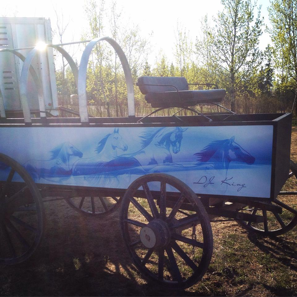 Wagon is all wrapped. Touch up the wheels and it's all set. North Battleford is coming quick @CPCAchuckwagons http://t.co/HBsm6oSdxg