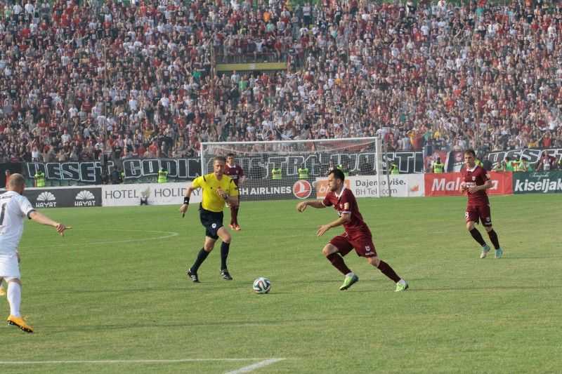 Velkoski controls the ball in the derby