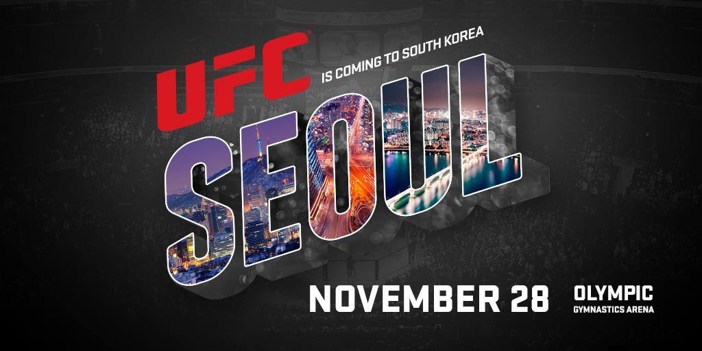BREAKING NEWS: UFC heads to South Korea for the very first time on November 28th! #UFCSeoul http://t.co/JHrzBBJHa0