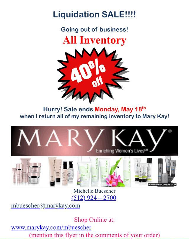 Liquidating mary kay inventory sale
