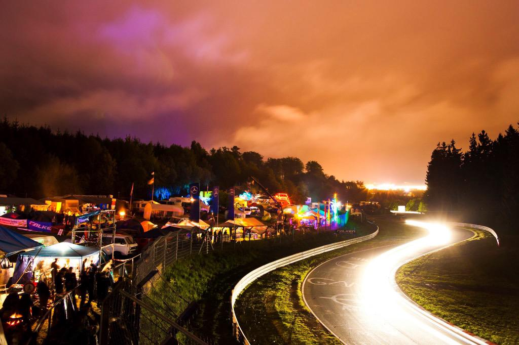 I asked @drewgibsonphoto to capture the atmosphere of the Nürburgring 24 Hours... #nailedit #N24h http://t.co/5xvxzfm1ok