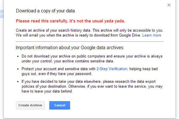 Google - download a copy of your data