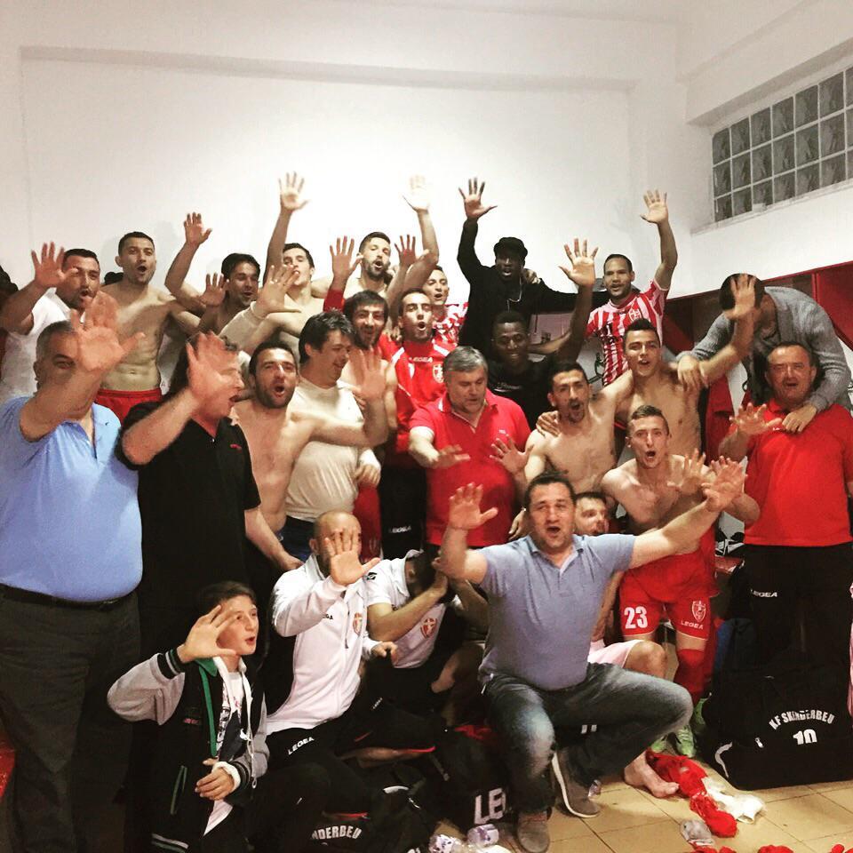 Skenderbeu players celebrate