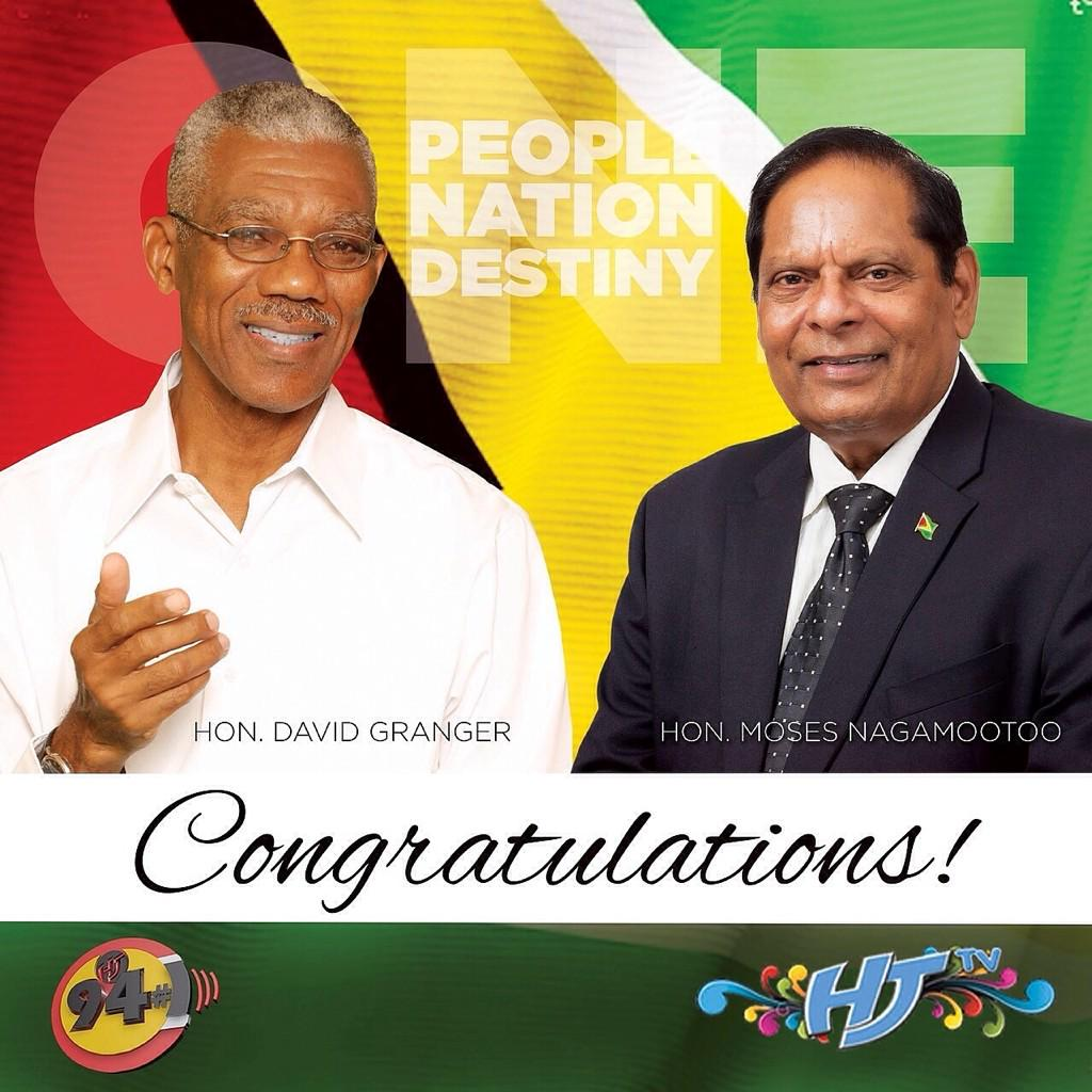 Warm Congratulations Are Extended To His Excellency Mr. David Granger & Mr. Moses Nagamootoo. Let Unity Prevail. http://t.co/uRJYKcBDIx