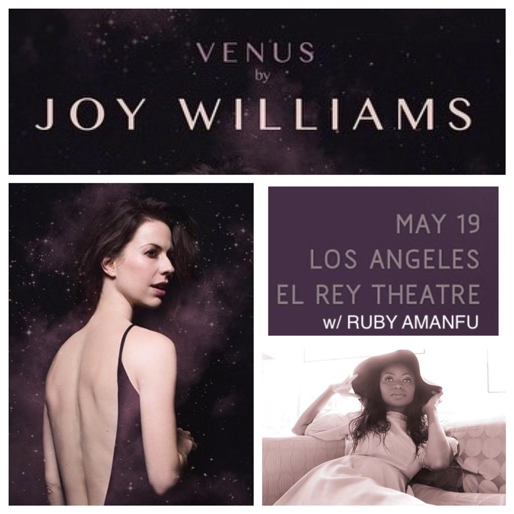 I love a good surprise..beyond excited to now be opening for my girl @JoyWilliams this coming Tuesday @ElReyTheatre. http://t.co/cmhKEqsy3Q