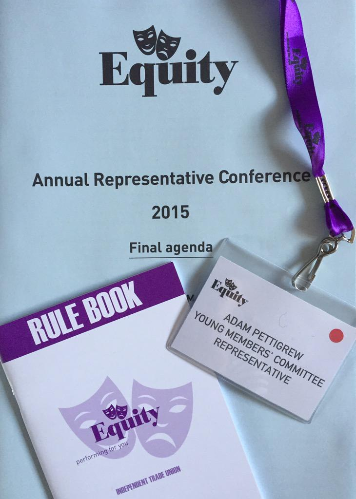 Off to represent my fellow industry colleagues aged 30 and under at the @EquityUK Annual Conference #ARC15 @EquityYMC http://t.co/aYzB1ZZvZ4