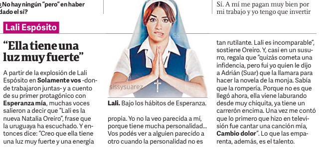 Natalia Oreiro habla sobre @laliespos en #clarin http://t.co/2CKBZOojkd