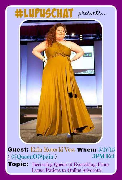 We just heard the news! Super @BlogHer strategist & #Lupus Warrior @QueenofSpain is the #LupusChat Guest today at 3pm http://t.co/gTIfiRk9lu