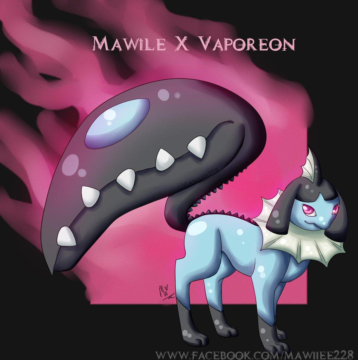 aluniart on twitter mawile x vaporeon pokemon fusion trickywii