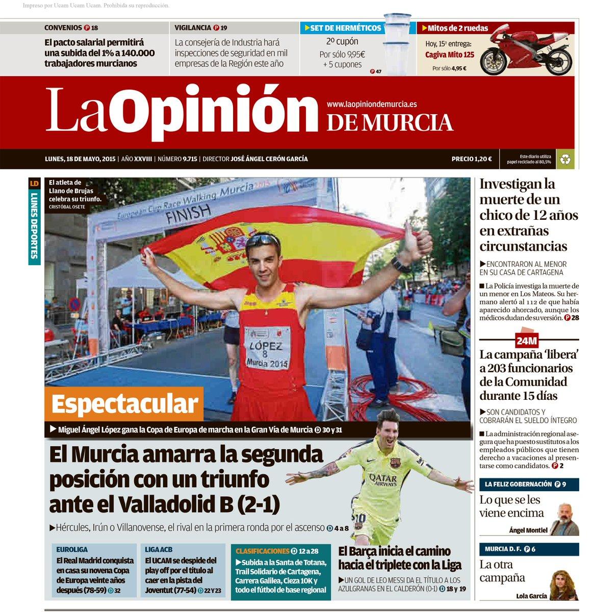 Las portadas de @diariolaopinion y @laverdad_es tienen hoy un claro protagonista: @MA_LopezNicolas http://t.co/4xQpIGvyBs