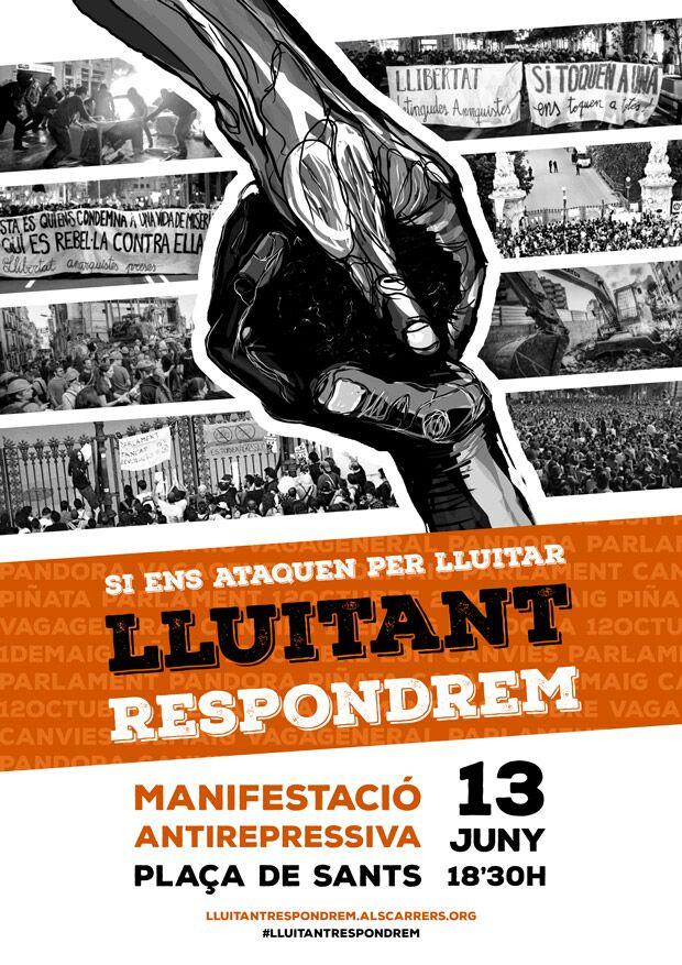 [BCN-Sants] Manifestació antirepressiva: #LluitantRespondrem