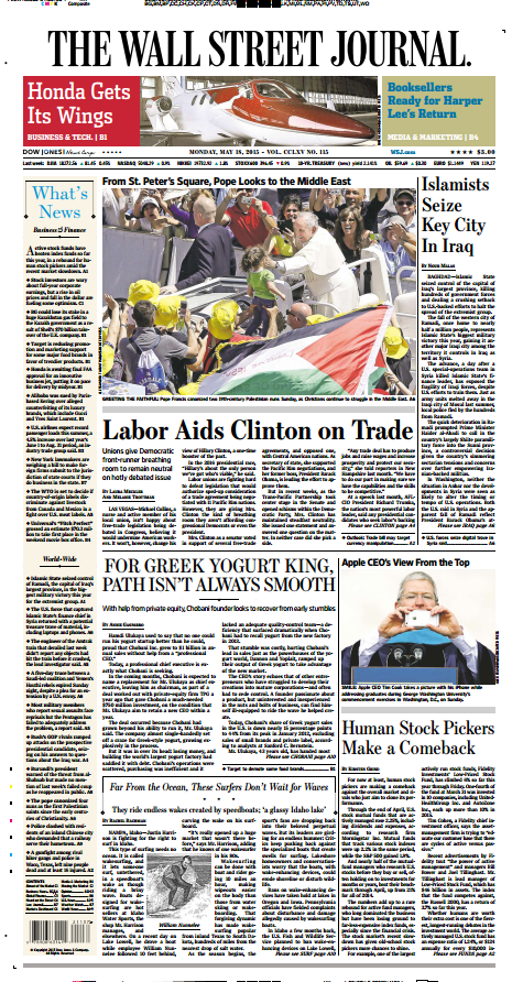 All 7 bylines on front page of today's @WSJ belong to women. http://t.co/Q3wOgm8l8t http://t.co/rVN2vTHOc4