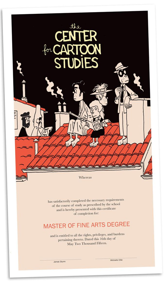 This year, award winning cartoonist Jason, created this stunning diploma for CCS: #CartoonStudies http://t.co/ynHgu5BUEQ
