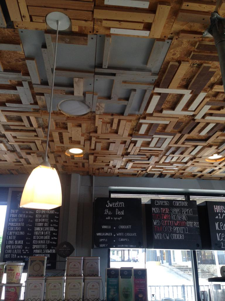 This place is supes adorbs! @OakLawnCoffee such a cool ceiling. http://t.co/52cAI1gktX
